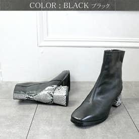 glitter 本革 ミディ丈パイソンアクセント美シルエットブーツ (ブラック)