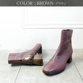 glitter 本革 ミディ丈パイソンアクセント美シルエットブーツ (ブラウン)