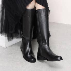 glitter ローヒールロングブーツ (ブラック)