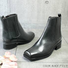 glitter 本革 スクエアトウサイドゴアブーツ (ブラック)