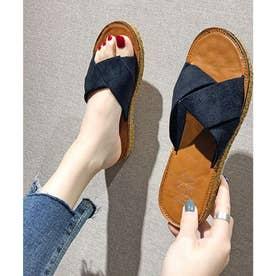ぺたんこサンダル サンダル 韓国ファッション (ネイビー)