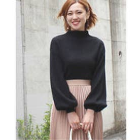 ボトルネック ニット セーター ボトルスリーブ バルーン袖 ゆるニット プルオーバー 韓国 韓国ファッション ボトルネックスリーブニットトップス (ブラック)