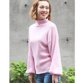 ボトルネック ニット セーター ボトルスリーブ バルーン袖 ゆるニット プルオーバー 韓国 韓国ファッション ボトルネックスリーブニットトップス (ピンク)
