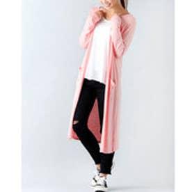 薄手ロングカーディガン (ピンク)