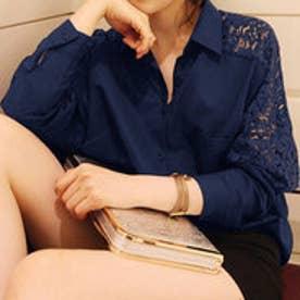 レースデザインシャツ 新色追加! ゆったり 人気 可愛い◎ 花柄レース刺繍デザインシャツ◎ シャツ ブラウス トップス お洒落 花柄 レース 刺繍 (ネイビー)