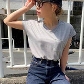 Tシャツ Vネック 新作 2019 SS 春夏 令和 元年新作 ポケット付VネックTシャツ (ミックスグレー)