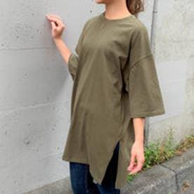 【綿100%】サイドスリットビッグシルエットTシャツ (グリーン)
