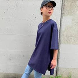【綿100%】サイドスリットビッグシルエットTシャツ (ネイビー)