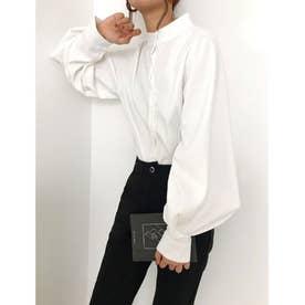 とろみシャツ ボリュームスリーブ スキッパーシャツ シフォンシャツ 袖コンシャス ルーズ (ホワイト)