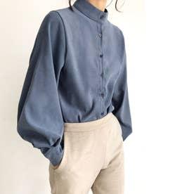 とろみシャツ ボリュームスリーブ スキッパーシャツ シフォンシャツ 袖コンシャス ルーズ (ブルーグレー)