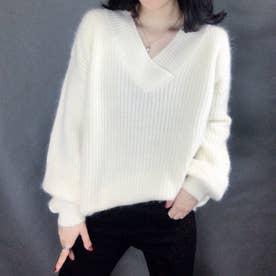 ニット セーター ゆったり ボリュームスリーブ ゆるニット ふわふわ Vネック バルーンスリーブ ルーズ 定番 セーター (ホワイト)