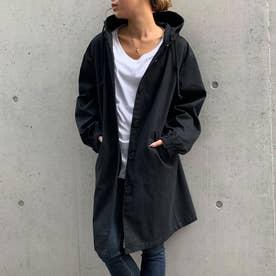 フード付きロングジャケット (ブラック)