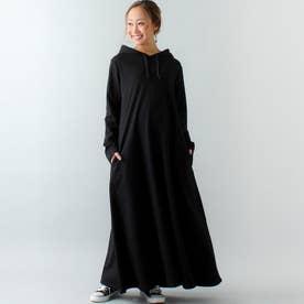 Aライン長袖スウェットマキシ丈パーカーワンピース (ブラック)