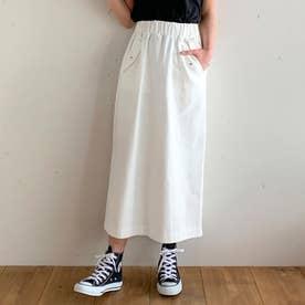 デザインポケットツイルロングスカート (ホワイト)