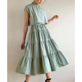 セットアップ風フレンチスリーブティアードワンピース/ふんわり コットン フリル ウエストマーク 春 夏 体型カバー エアリー フェミニン 韓国 韓国ファッション