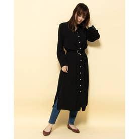 スリットボタンロングシャツ (ブラック)