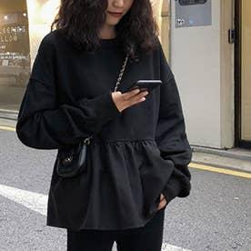 切り換えフリルスウェットトレーナー 韓国ファッション (ブラック)