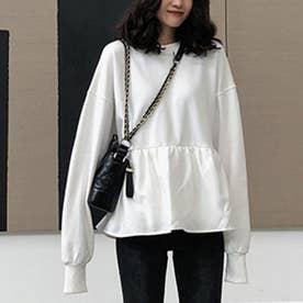 切り換えフリルスウェットトレーナー 韓国ファッション (ホワイト)