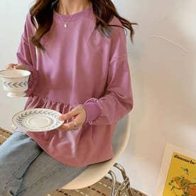 切り換えフリルスウェットトレーナー 韓国ファッション (ピンク)