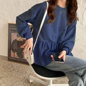 切り換えフリルスウェットトレーナー 韓国ファッション (ネイビー)
