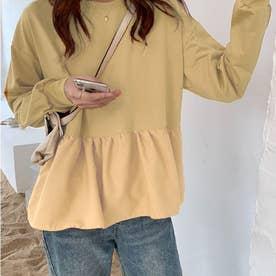 切り換えフリルスウェットトレーナー 韓国ファッション (ベージュ)