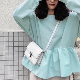 切り換えフリルスウェットトレーナー 韓国ファッション (ライトブルー)