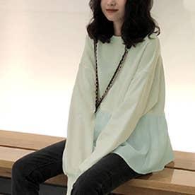 切り換えフリルスウェットトレーナー 韓国ファッション (ペールミント)