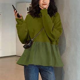 切り換えフリルスウェットトレーナー 韓国ファッション (グリーン)