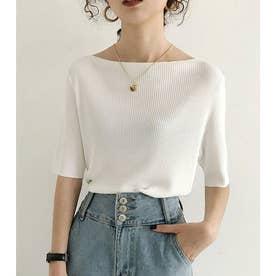 サマーリブニット5分袖トップス 韓国ファッション (ボートネックホワイト)