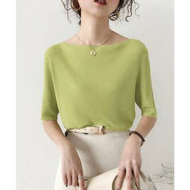 サマーリブニット5分袖トップス 韓国ファッション (ボートネックグリーン)