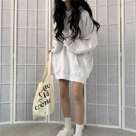 生地が選べる ワイドアームビッグパーカー 韓国ファッション 春 夏 秋 冬 パーカー (杢ホワイト(起毛))