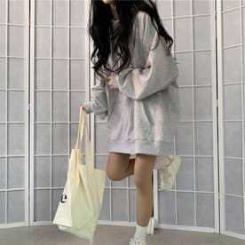 生地が選べる ワイドアームビッグパーカー 韓国ファッション 春 夏 秋 冬 パーカー (グレー(起毛))