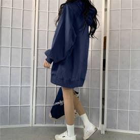 生地が選べる ワイドアームビッグパーカー 韓国ファッション 春 夏 秋 冬 パーカー (ネイビー(起毛))