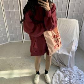 生地が選べる ワイドアームビッグパーカー 韓国ファッション 春 夏 秋 冬 パーカー (ワイン(起毛))