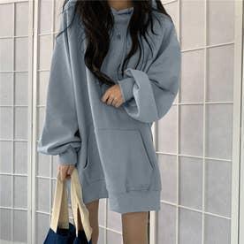 生地が選べる ワイドアームビッグパーカー 韓国ファッション 春 夏 秋 冬 パーカー (ブルー(起毛))
