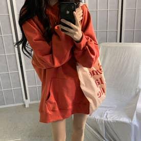 生地が選べる ワイドアームビッグパーカー 韓国ファッション 春 夏 秋 冬 パーカー (テラコッタ(起毛))