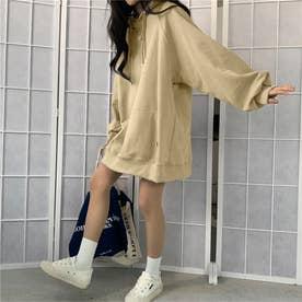 生地が選べる ワイドアームビッグパーカー 韓国ファッション 春 夏 秋 冬 パーカー (ベージュ(起毛))
