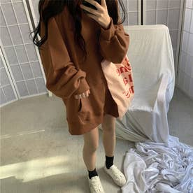 生地が選べる ワイドアームビッグパーカー 韓国ファッション 春 夏 秋 冬 パーカー (ブラウン(起毛))