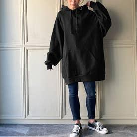 生地が選べる ワイドアームビッグパーカー 韓国ファッション 春 夏 秋 冬 パーカー (ブラック)