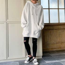 生地が選べる ワイドアームビッグパーカー 韓国ファッション 春 夏 秋 冬 パーカー (杢ホワイト)