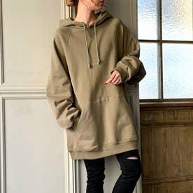 生地が選べる ワイドアームビッグパーカー 韓国ファッション 春 夏 秋 冬 パーカー (グレージュ)