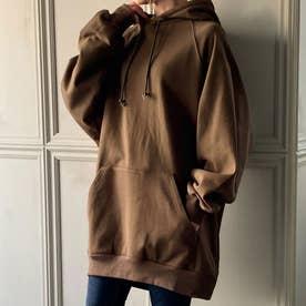 生地が選べる ワイドアームビッグパーカー 韓国ファッション 春 夏 秋 冬 パーカー (ブラウン)