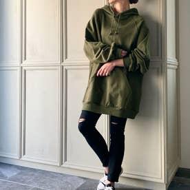 生地が選べる ワイドアームビッグパーカー 韓国ファッション 春 夏 秋 冬 パーカー (グリーン)