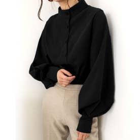 とろみシャツ ボリュームスリーブ スキッパーシャツ ブラウス 袖コンシャス ルーズ 韓国ファッション 春 夏 秋 冬 韓国 トップス オフィス オフィスカジュアル