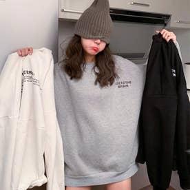 ワンポイントプルオーバートレーナー 韓国ファッション (グレー)