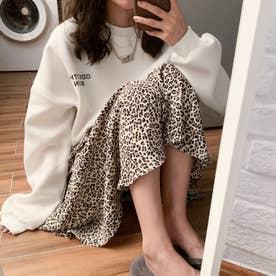 ワンポイントプルオーバートレーナー 韓国ファッション (ホワイト)
