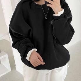 ドロップショルダーデザイントレーナー 韓国ファッション 春 夏 秋 韓国 トップス 春服 夏服 トレーナー (ブラック)