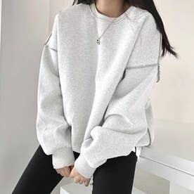 ドロップショルダーデザイントレーナー 韓国ファッション 春 夏 秋 韓国 トップス 春服 夏服 トレーナー (杢ホワイト)