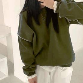ドロップショルダーデザイントレーナー 韓国ファッション 春 夏 秋 韓国 トップス 春服 夏服 トレーナー (グリーン)