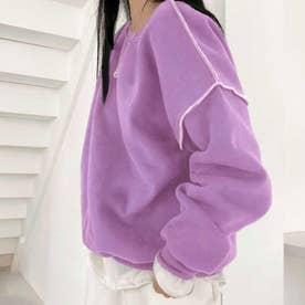 ドロップショルダーデザイントレーナー 韓国ファッション 春 夏 秋 韓国 トップス 春服 夏服 トレーナー (ラベンダー)